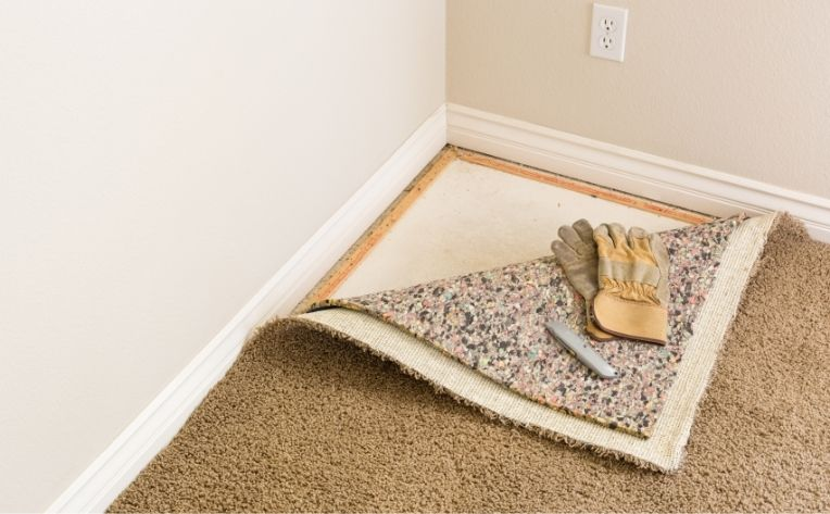 Carpet Cushioning Flipped Back